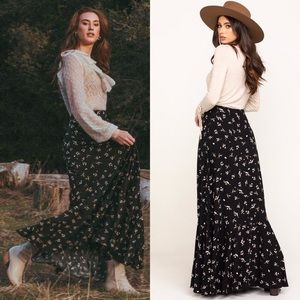 New Free People Ruby's Forever Maxi Skirt Black